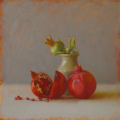 Crispin Akerman - Pomegranates and Jar 2015, OOP, 30 x 30 cm