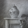 Temple Jar and Rug 2016, charcoal,58 x 73.5 cm