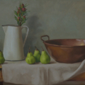 Copper Bowl, Seasonal Flowers and Pears - oil on linen, 41 x 61cm
