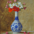 Geraniums and Daisies - oil on linen, 20 x 18.5cm