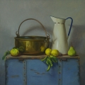Lemons, Pear, Jug and Bowl, Oil on Linen, 71 x 71cm