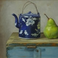 Teapot and Pear, Oil on Linen on Board, 22 x 27cm